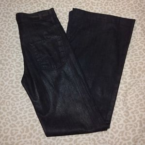 7 for All Mankind blue wax coated wide leg size 26